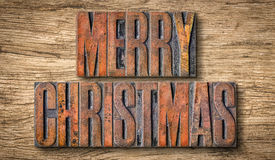 Antique letterpress wood type printing blocks - Merry Christmas Royalty Free Stock Photo