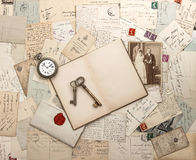 Antique letters and postcards, old weding photo Royalty Free Stock Photography