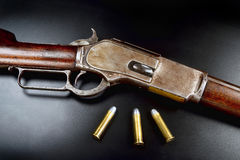 Antique Lever Action Rifle. Stock Photo
