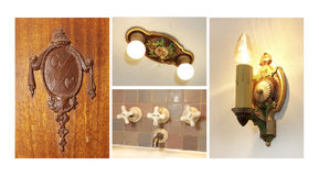 Antique light fixtures, door kno and faucet collage. Royalty Free Stock Images