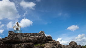 Antique lighthouse on the top of the mountain timelapse stock video