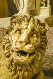 Antique Lion Sculpture. Grotesk antique lion head sculpture interior room scene Stock Image