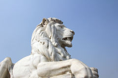 Antique Lion Statue at Victoria Memorial Gate, Kolkata. Antique Lion Statue in sky background at Victoria Memorial Gate, Kolkata, India. Built with white Makrana Royalty Free Stock Photos