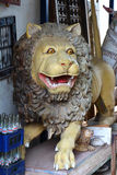 Antique lion. The wooden statue. India Royalty Free Stock Photography