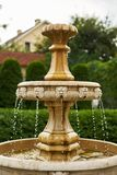 antique little waterfall in the garden falling drops close-up stock photography