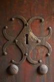 Antique lock. Metallic and wood. Stock Image