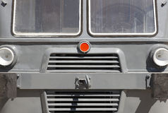 Antique locomotive front cabin detail in grey tone. Royalty Free Stock Photos