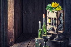 Antique machine to make oil with sunflower and seeds Royalty Free Stock Photography