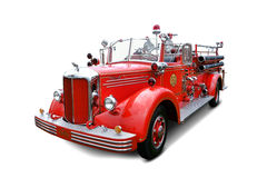 Antique Mack Pumper Fire Engine Vintage Truck. Antique 1949 Mack LS pumper fire engine truck with vintage hose apparatus and old emergency firefighting lights Royalty Free Stock Photography