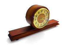 Antique mantle clock. Mahogany antique mantle clock isolated on white Stock Photos