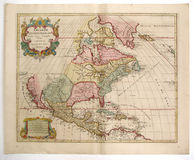 Antique map of America. As background Stock Photography