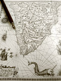 Antique Map And Manuscript Pen Royalty Free Stock Photo