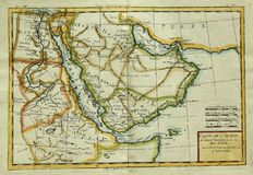 Antique map of Arabian Peninsula & Eastern Africa. Antique vintage map of Arabian Peninsula (Middle East) and North-Eastern Africa engraved by Rigobert Bonne and royalty free stock photography