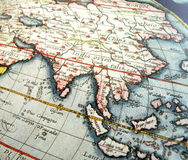 Antique map of Asia. An old aged antique map showing the asia region. Horizontal color format. Particularly focusing on the southeast asian vicinity, showing royalty free stock image