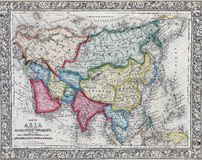 Antique map of Asia showing Political division Stock Images