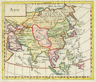 Antique Map of Asia shows India China Russia Japan 1750. Antique Asia Map with hand colored and show many country countries such as India, China, Rusia, Japan royalty free stock images