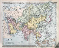 Antique Map of Asia. Victorian era map of Asia originally published in 1880 Royalty Free Stock Image