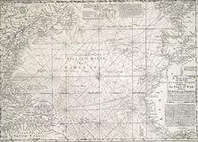 Antique map of the Atlantic Ocean Stock Images
