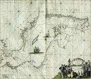 Antique map Baltic sea Stock Photography