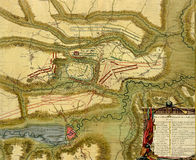Antique map of  battle of  Oudenaarde, Belgium Stock Photography