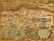 Antique Map of Bavaria. Germany  by Abraham Ortelius, circa 1570 Royalty Free Stock Images
