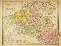 Antique map of Belgium and Luxembourg Stock Photos