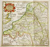 Antique map of Belgium and Netherlands Royalty Free Stock Photos