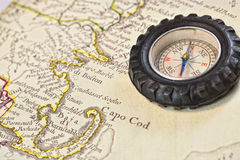 Antique map of Cape Cod with retro compass Royalty Free Stock Photos