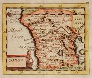 Antique map of Congo (Africa). Old, antique map of Congo, (Africa) engraved by Du Val and published in 1679 Stock Image