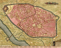 Antique map of Cremona, Italy. Royalty Free Stock Photos