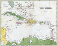 Antique map of Cuba and the Caribbean royalty free illustration