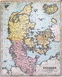 Antique Map of Denmark. Victorian era map of Denmark originally published in 1880 Royalty Free Stock Image