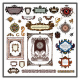 Antique map elements borders and frames Stock Images