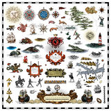 Antique map elements collection Royalty Free Stock Photo