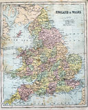 Antique Map of England and Wales. Victorian era map of England and Wales originally published in 1880 royalty free stock images
