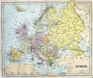 Antique Map of Europe. Victorian era map of Europe originally published in 1881 Stock Photo