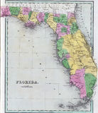 Antique map of Florida. From the out of print 1841 Goodrich atlas royalty free stock photos