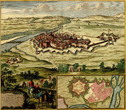 Antique map of  the fortified city Royalty Free Stock Photo