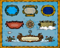 Antique Map Frame Decorations Stock Photo