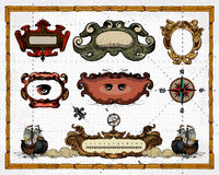 Antique Map Frame Decorations Royalty Free Stock Photos