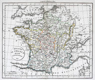Antique Map of France Royalty Free Stock Images