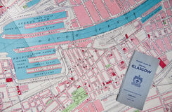 Antique map of Glasgow. An 1890 map of central Glasgow with detail of the old Prince's and Queen's docks on the River Clyde, Scotland stock photography