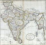 Antique map of Hindostan or India Stock Photo