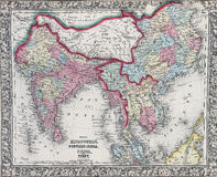 Antique map of Hindostan or India Royalty Free Stock Photography