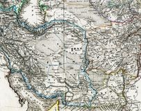 Antique Map of Iran Afghanistan. 1875 Antique Map showing the Middle East region of Iran, Iraq, Afghanistan Royalty Free Stock Photo