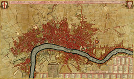 Antique map of London, Southwark asnd Westminster, Royalty Free Stock Photo