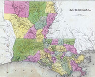 Antique map of Louisiana Stock Photos