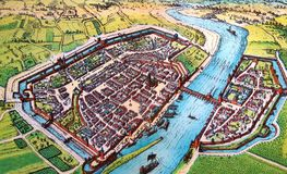 Antique map of a medieval European city. Kiev, Ukraine - March 31, 2018: ILLUSTRATIVE EDITORIAL The reproduction of antique map of a medieval European city as Stock Images