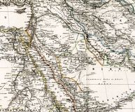 Antique map of Middle East Arabia Iraq Royalty Free Stock Photos