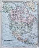 Antique Map of North America. Victorian era map of North America originally published in 1880 royalty free stock photos